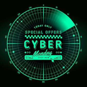 Banner de venda cibernética de design plano