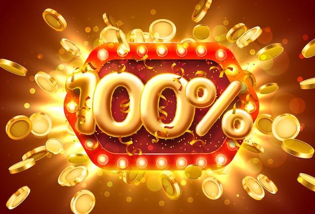 Banner de venda com 100% de desconto em números com moedas voando