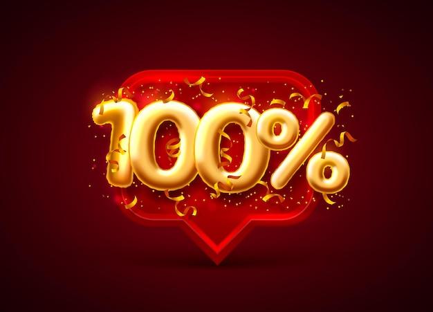Banner de venda com 100% de desconto no número de balões em vermelho