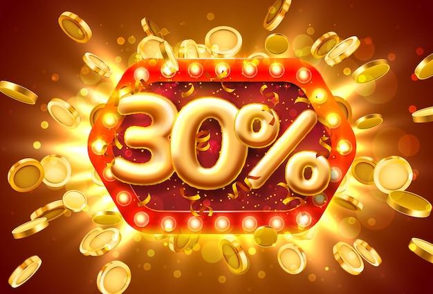 Banner de venda com 30% de desconto em números com moedas voando