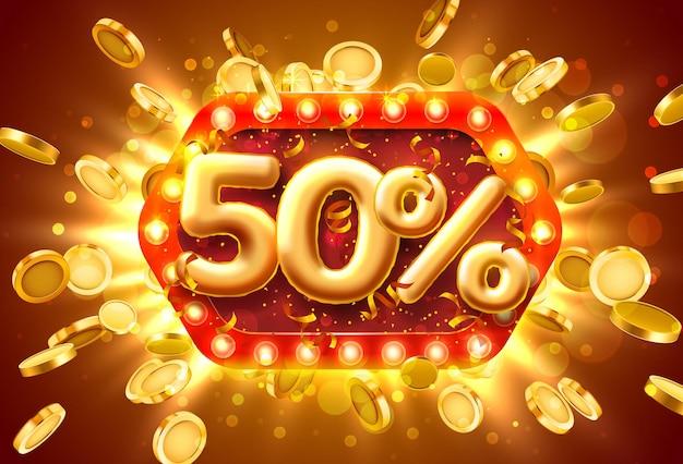 Banner de venda com 50% de desconto em números com moedas voando