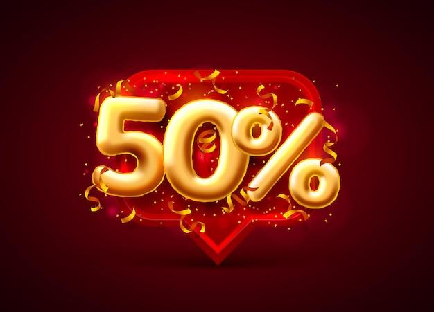 Banner de venda com 50% de desconto no número de balões em vermelho