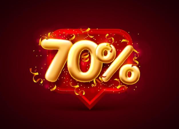 Banner de venda com 70% de desconto em números com moedas voando