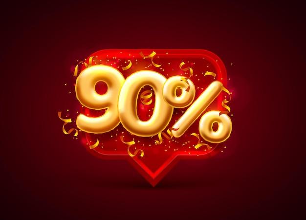 Banner de venda com 90% de desconto em números com moedas voando