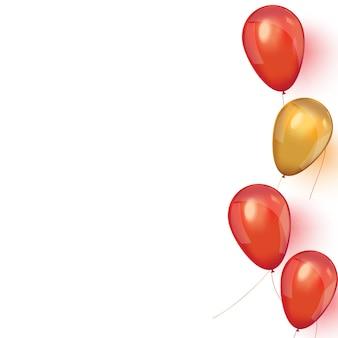 Banner de venda com balões flutuantes rosa e ouro.