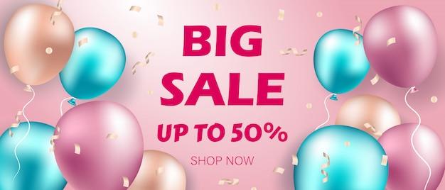 Banner de venda com balões realistas.
