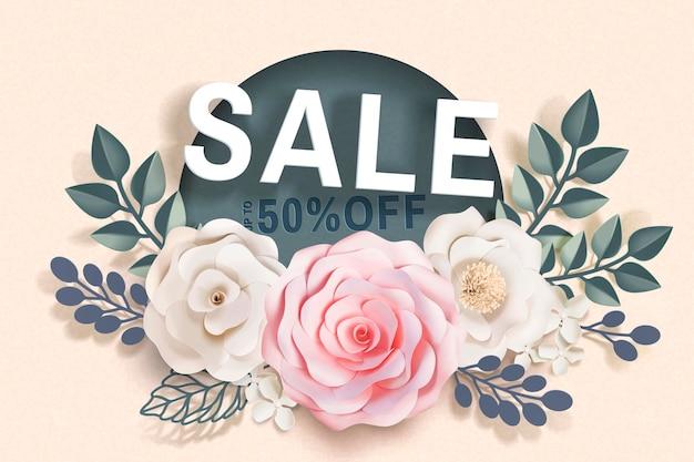 Banner de venda com decorações florais de papel e molduras em superfície bege em estilo 3d