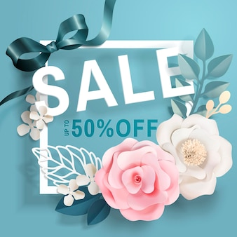 Banner de venda com decorações florais de papel e molduras na superfície azul em estilo 3d