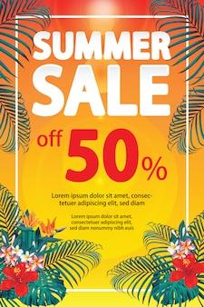 Banner de venda com desconto de verão com frangipani