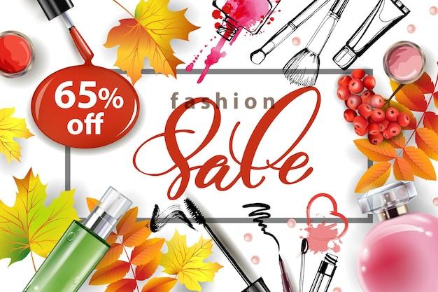 Banner de venda com folhas de outono, cosméticos e bagas de rowan. molde do vetor.