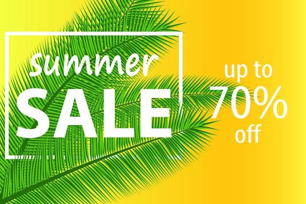 Banner de venda com folhas de palmeira. fundo floral férias tropicais. ilustração vetorial. projeto de vendas de verão quente.
