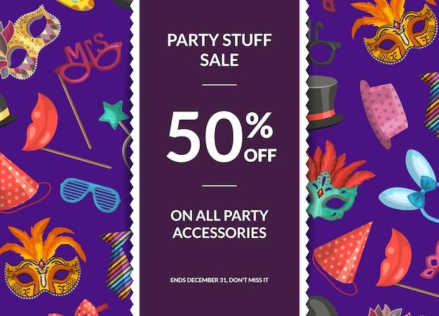Banner de venda com máscaras e acessórios para festa, fita vertical e lugar para ilustração de texto