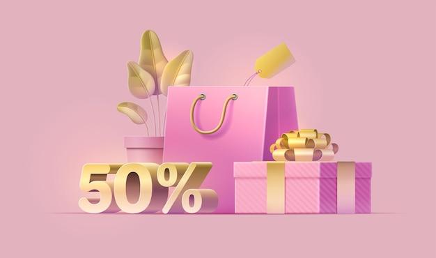 Banner de venda com oferta de desconto de cinquenta por cento. planta, pacote, etiqueta de preço, caixa de presente, fita dourada.