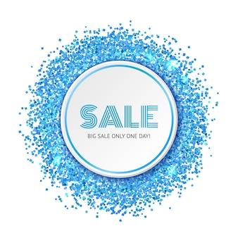 Banner de venda com partículas de glitter azul e brilho.