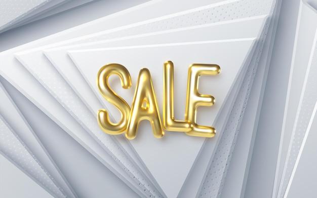 Banner de venda com símbolo dourado em fundo de formas geométricas brancas