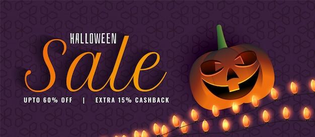 Banner de venda criativa de halloween com abóbora