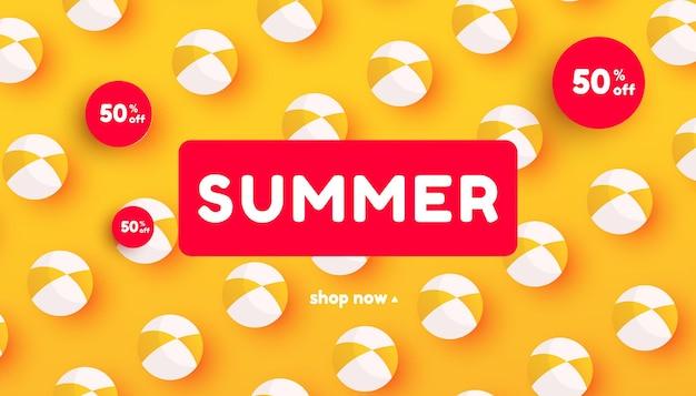 Banner de venda criativa de verão em cores vivas da moda com bola de praia