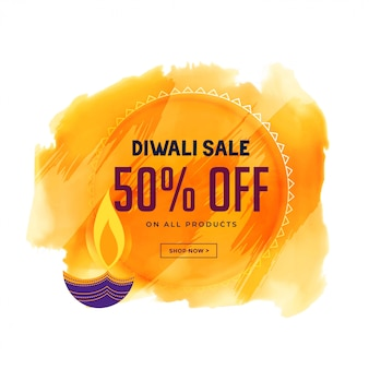 Banner de venda criativa diwali com diya e fundo aquarela
