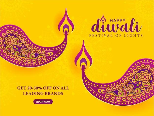 Banner de venda criativa feliz diwali