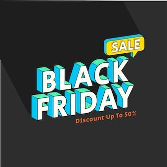 Banner de venda da black friday 3d estilo plano dos anos 90