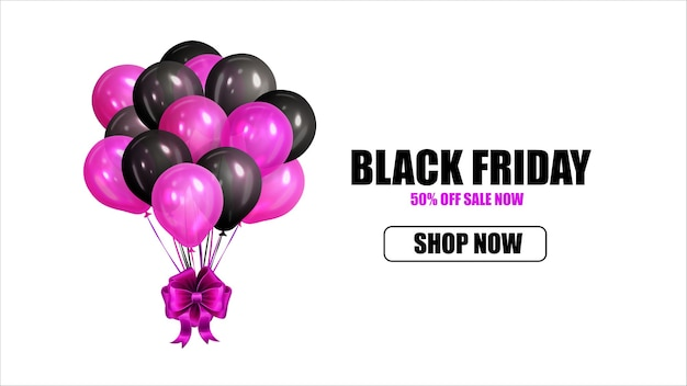 Banner de venda da black friday com balões