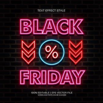 Banner de venda da black friday com efeitos de texto em néon