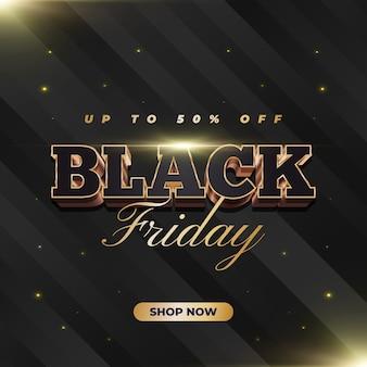 Banner de venda da black friday com texto 3d preto e dourado em estilo elegante