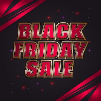 Banner de venda da black friday com texto 3d vermelho e dourado