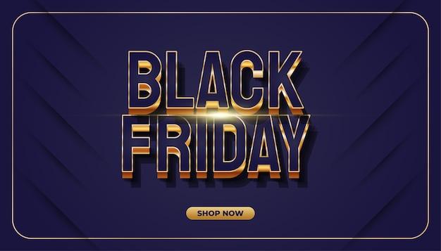 Banner de venda da black friday com texto elegante em estilo luxuoso
