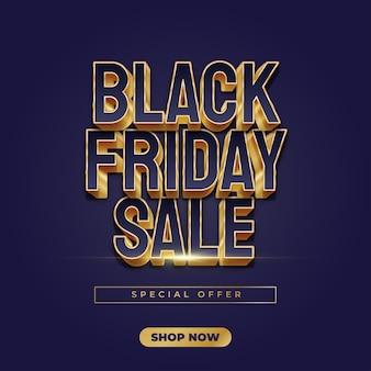 Banner de venda da black friday com texto em azul e dourado em estilo elegante
