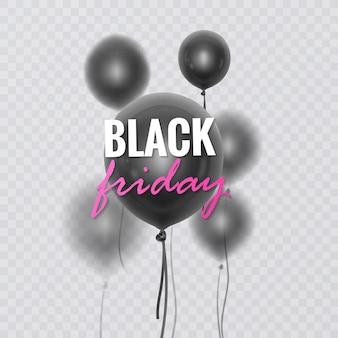 Banner de venda da black friday decorado com balões 3d brilhantes com efeito de desfoque
