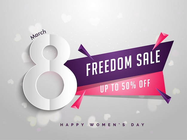 Banner de venda da liberdade ou design de cartaz com 50% de desconto na oferta
