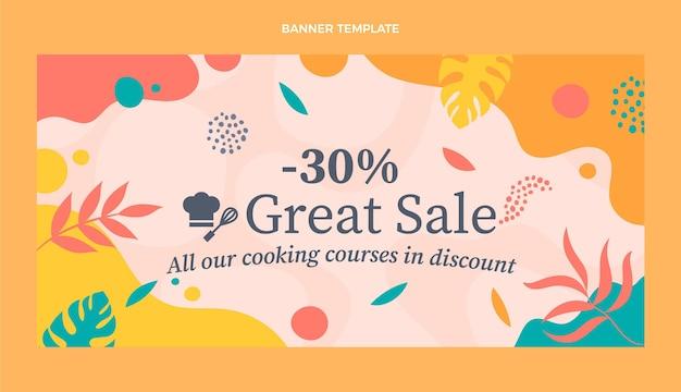 Banner de venda de alimentos em design plano