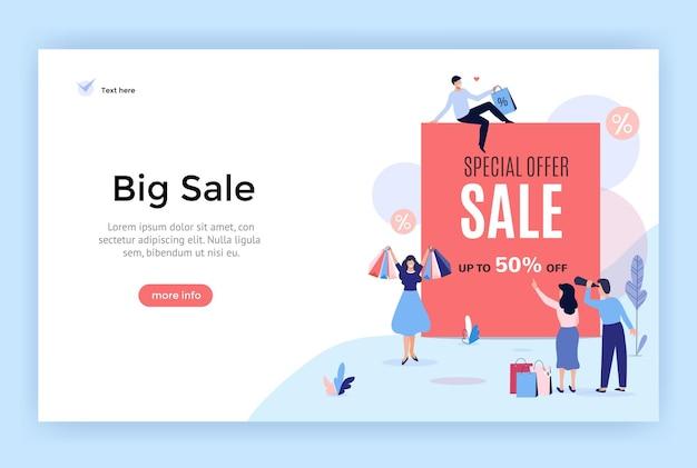 Banner de venda de até 50 ilustração vetorial perfeita para web design