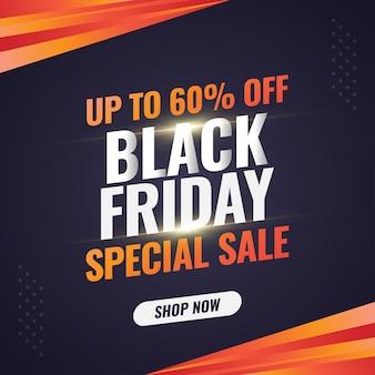 Banner de venda de black friday com gradiente laranja em conceito abstrato
