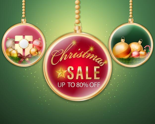 Banner de venda de bolas de natal dourado