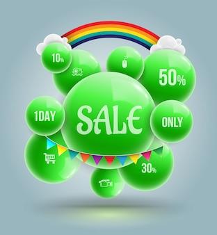 Banner de venda de bolas verdes para promoção