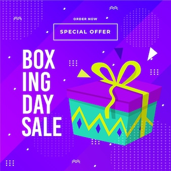 Banner de venda de boxing day de design plano