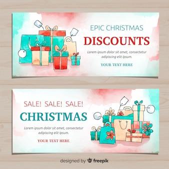Banner de venda de caixas de presente aquarela