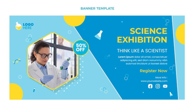 Banner de venda de ciência em design plano