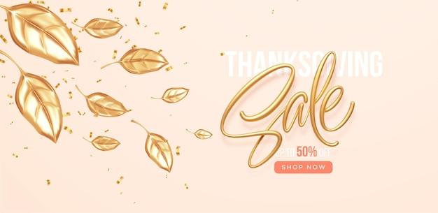 Banner de venda de desconto de ação de graças ou queda com folhas de ouro caindo. cenário de venda de outono com folhas douradas. ilustração vetorial