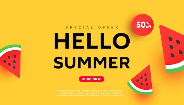 Banner de venda de desconto de verão brilhante com fatias de melancia madura Vetor Premium