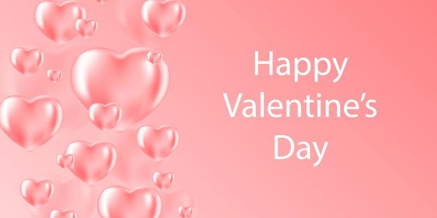 Banner de venda de dia dos namorados com balões de coração. plano de fundo romântico com corações.