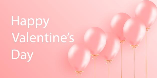 Banner de venda de dia dos namorados com balões. plano de fundo romântico com corações.