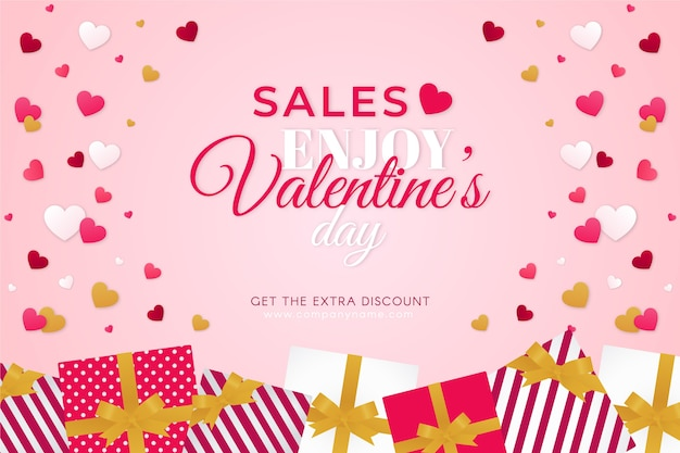 Banner de venda de dia dos namorados de design plano