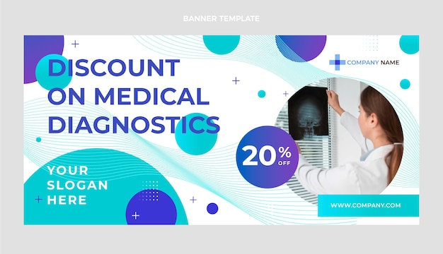 Banner de venda de diagnóstico médico de gradiente