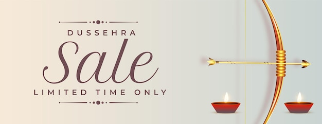 Banner de venda de dussehra feliz com arco e flecha realistas
