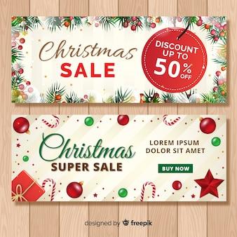 Banner de venda de elemento de natal