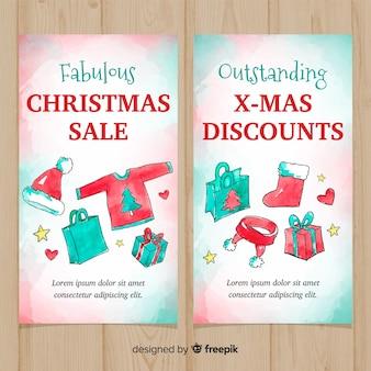 Banner de venda de elementos de natal em aquarela