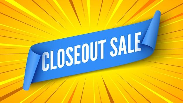 Banner de venda de encerramento com ilustração de fundo listrado azul